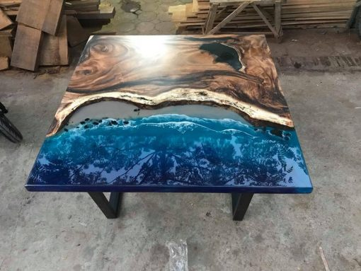 Epoxy River Square Walnut Coffee Table Woodify