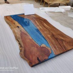 Acacia Blue Epoxy River Live Edge 72 by 32 - Woodify