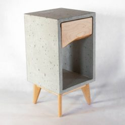 Concrete & Live Edge Maple Wood Drawer Nightstand or End Table - Woodify