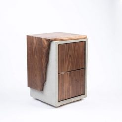 Concrete & Live Edge Wood Nightstand with 2 Drawers - Woodify