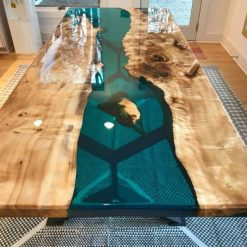 Epoxy Resin Acacia Table Top 6 by3ft Teal - Woodify
