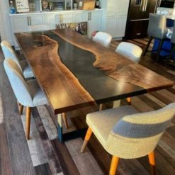 Epoxy Resin table top Black 6 3 feet 35mm thickness made with acacia live edge wood with iron legs - Woodify