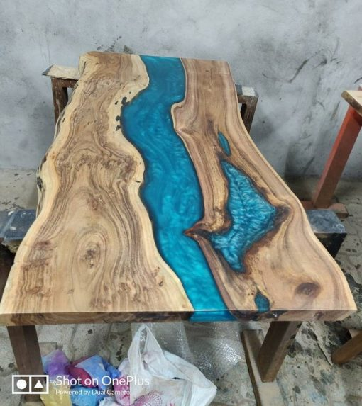 Live edge Acacia Wood Resin Coffee Table Top - Woodify