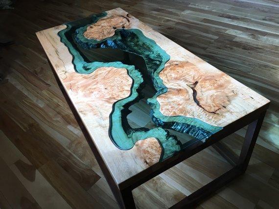 Big Leaf Epoxy Custom Coffee Table Woodify Canada