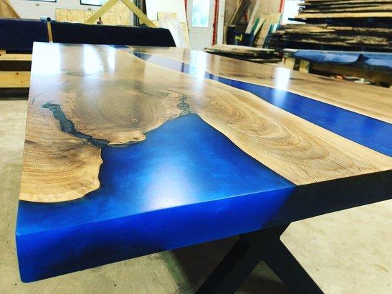 Blue Epoxy River Wood Kitchen Table Woodify Canada