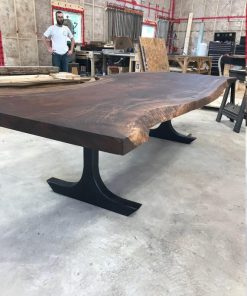 Claro Walnut Dining Table with T Shaped Metal Legs - 1 - Woodify