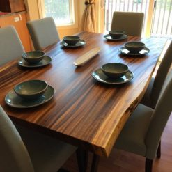 Live Edge Dark Acacia Wood Dining Table - 1 - Woodify