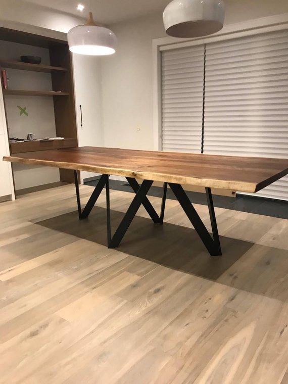 Modern Walnut Living Room Furniture: Modern Live Edge Walnut Dining Table