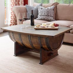 Rustic coffee table, wine barrel coffee table - 1 - Woodify