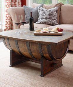 Rustic coffee table, wine barrel coffee table - 1 - Woodify