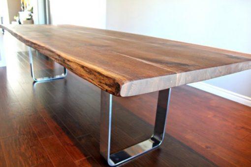 Salvaged Live Edge Harvest Table Black Walnut - 1 - Woodify
