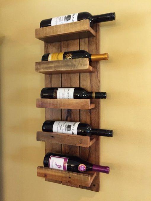 Solid Wood Wall Mounted Wine Rack - 5 Bottles - Woodify