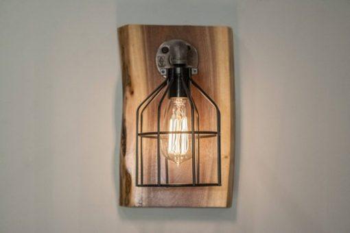 Steampunk Wood Edison Wall Sconce Light Fixture