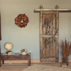 8 Ft Rustic Vintage European Sliding Steel Barn Wood Door - 1 - Woodify
