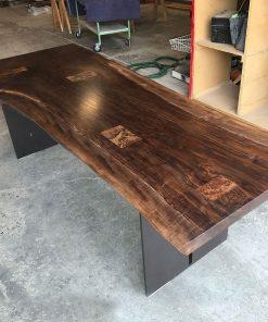 Claro Walnut Patchwork Dining Table - Woodify
