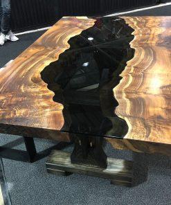 Claro Walnut Smoked Glass Table - Woodify