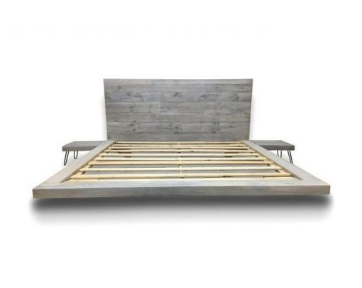Floating Platform Bed with Integrated Side Tables - Reclaimed Wood - 1 - Woodify