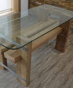 Handmade Dining Table Reclaimed Wood Glass Top - 1 -Wodify