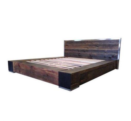 Industrial Style Barnwood Bed Frame - 2 - Woodify