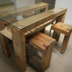 Reclaimed Wood Dining Table Glass Top - 1 - Woodify