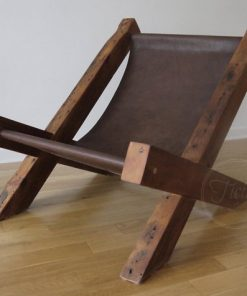 Reclaimed Wood Leather Lounge Chair - 1 - Woodify