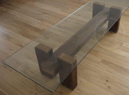 Rustic Reclaimed Wood Coffee Table Glass Top - 1 -Woodify