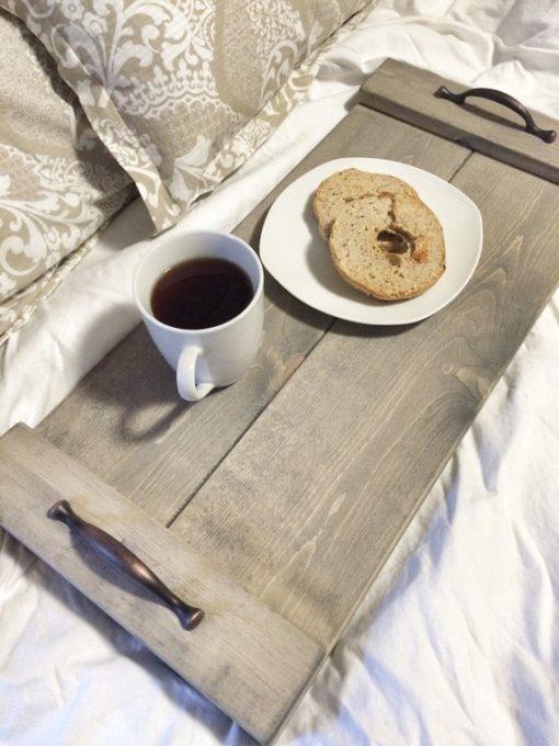 Rustic Wooden Tray Bronze Handles - 1 - Woodify