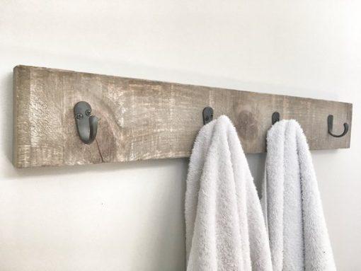 Rustic Wooden Walnut Towel Rack - Woodify