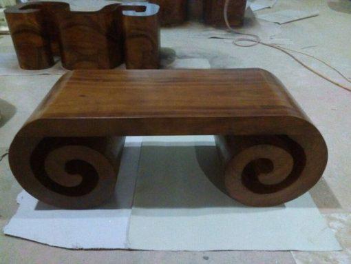 Solid Wood Scroll Shape Coffee Table - 2 - Woodify