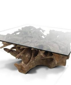 Teak Root Coffee Table (Irregular Shaped) with Glass Top - 1 - Woodify