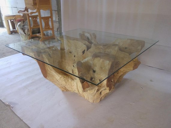 Teak Root Coffee Table (Irregular Shaped) with Glass Top ...