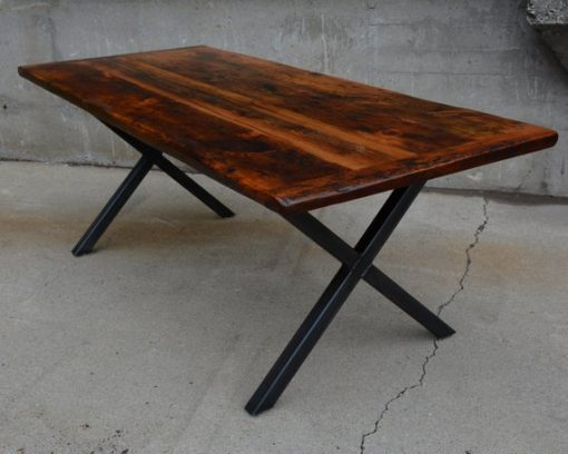 Urban Reclaimed Wood X Steel Base Dining Table in an Epoxy Matte Finish