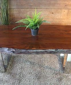 Acacia Honey Walnut Live Edge Wood Coffee Table with Chrome U Shaped Legs - Woodify