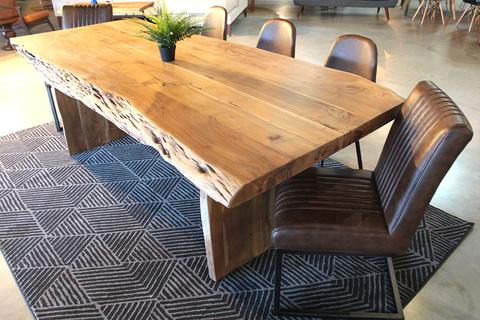Acacia Live Edge Table with Wooden Plank Legs Natural Color - Woodify