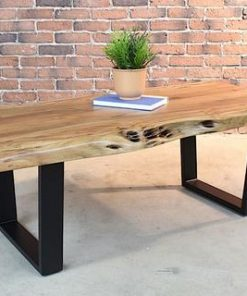 Acacia Natural Live Edge Wood Coffee Table with Black U Shaped Legs - 1 - Woodify