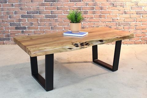 Acacia Natural Live Edge Wood Coffee Table with Black U Shaped Legs - 1 - Woodify
