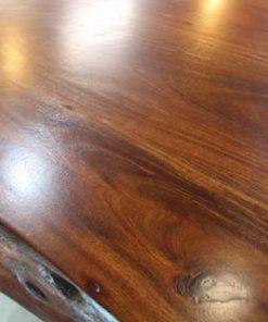 Live Edge Acacia Dining Table With Black U Legs - Honey Walnut - 1 - Woodify