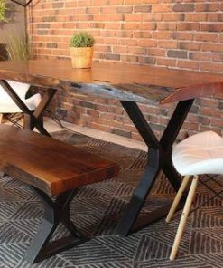 Live Edge Acacia Dining Table with Black X Legs Honey Walnut - 1 - Woodify