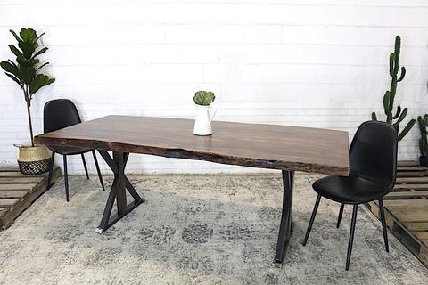Live Edge Acacia Wood Table with Farmhouse Brushed Metal Legs Honey Walnut - Woodify