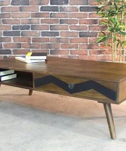 Mid Century Modern Rustic Solid Mango Wood Coffee Table - Woodify