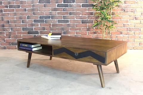 Mid Century Modern Rustic Solid Mango Wood Coffee Table - Woodify