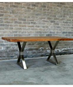 Straight Cut Acacia Wood Table with Chrome X-Shaped Legs - Woodify