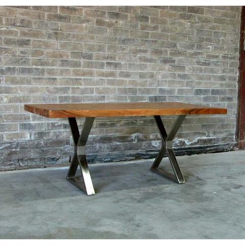 Straight Cut Acacia Wood Table with Chrome X-Shaped Legs - Woodify