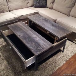Old Barn Wood Pop up Coffee Table with Clear Coat - 1 - Woodify