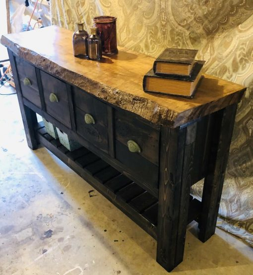 Rustic handmade accent table - 6 - Woodify