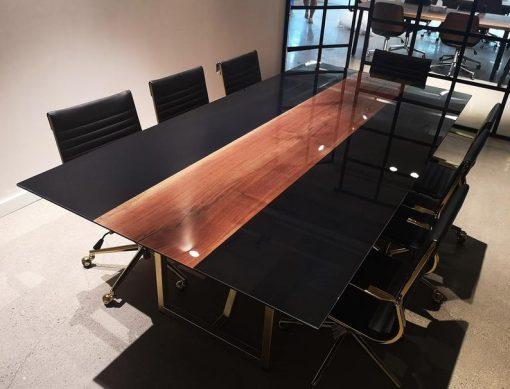 Black Epoxy Boardroom Table - Woodify