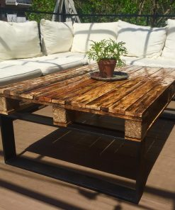 Black Epoxy outdoor Coffee table with black steel legs - Woodify 1