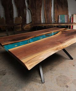 Live Edge Walnut River Dining Table with K shaped legs - Woodify 4
