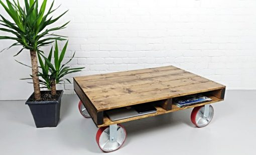 Pallet Coffee Table, Rustic Coffee Table, Industrial Coffee Table on large Caster wheels - Woodify
