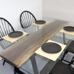 Walnut Slab Dining Table with Glass Top - Woodify Canada